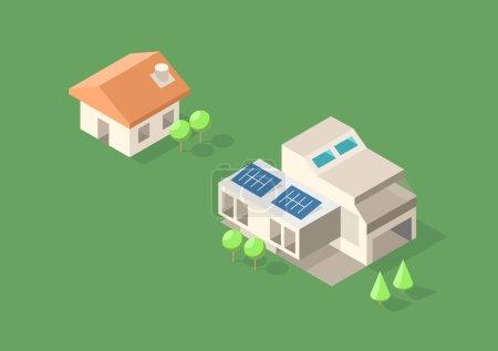 Photo pour Illustration icône Maisons isométriques - image libre de droit