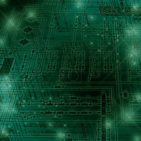 Photo for Fragment of an electrical circuit on a green  background. - Royalty Free Image