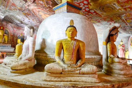 Photo for 5th Century Wall Paintings And Buddha Statues At Dambulla Cave Golden Temple. Dambulla Cave Golden Temple Is The Largest And BestPreserved Cave Temple Complex In Sri Lank - Royalty Free Image