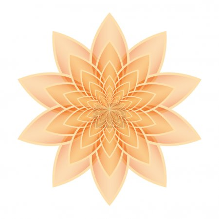 Illustration for Orange lotus flower on a white background. Isolated object, vector illustration - Royalty Free Image