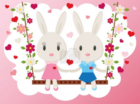 Illustration for Two cute bunny on a swing. Holiday greeting card, vector - Royalty Free Image