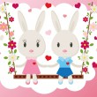 Two cute bunny on a swing. Holiday greeting card, ...
