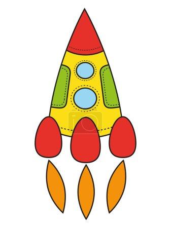 Children's drawing a rocket