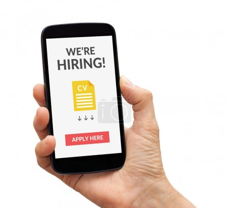 Hand holding smart phone with we are hiring apply now concept on