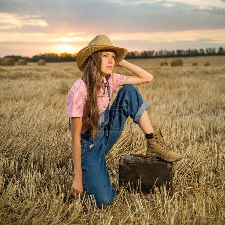 Woman traveler outdoors portrait