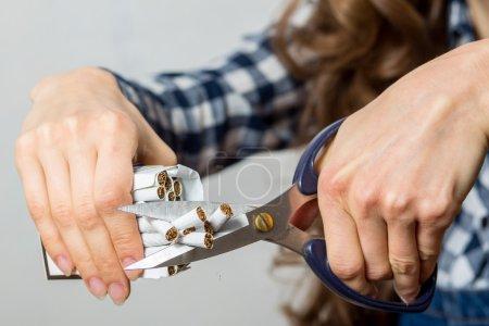 Stop smoking concept woman