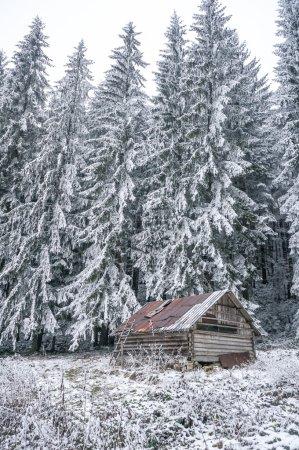 Winter abandoned house of shepherds