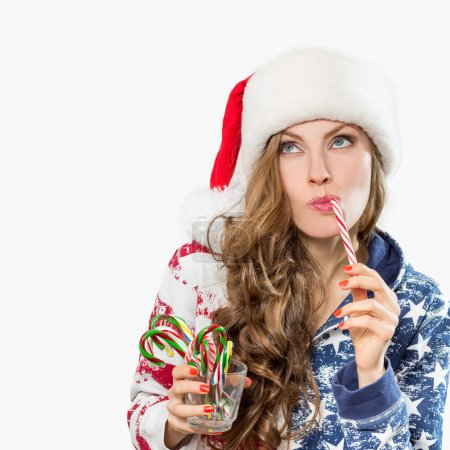 Christmas surprised winter woman