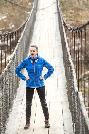 Winter running woman relaxing