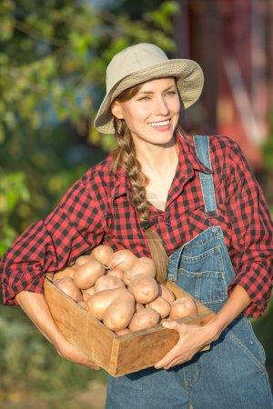 Photo pour Potager - charmant jardinier portant une caisse avec des légumes fraîchement récoltés dans le jardin - image libre de droit