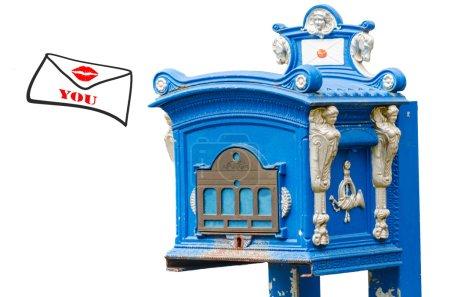 Mailbox, envelope, kiss mouth