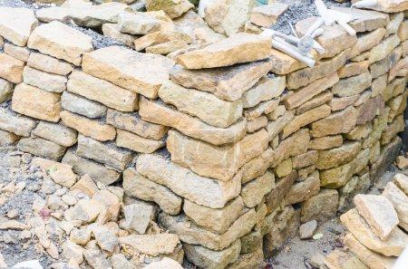 Stone wall, drywall, sandstone
