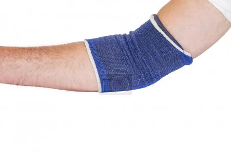 Tennis elbow with blue bandage