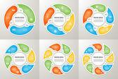 """Постер, картина, фотообои """"Векторные стрелки круг подписать набор инфографики. 3, 4, 5, 6, 7, 8 вариантов, частей, шаги. Циклическая диаграмма, символ графика, головоломка презентации, круглые диаграммы. Шаблон бизнес инфографики концепции с данных процессов."""""""