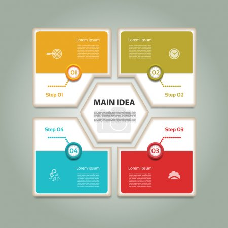 Illustration for Cyclic diagram with four steps and icons. Infographic vector background. eps 10 - Royalty Free Image