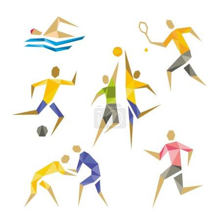 Illustration pour Geometric abstract shapes sport - image libre de droit
