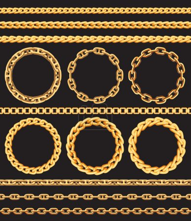 Frames and borders made of golden chains