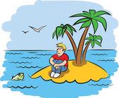 Sad young man on a desert island Vector illustration