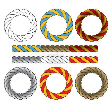 Illustration pour Cadres ronds en cordons torsadés colorés et six éléments pour créer des cadres et des bordures similaires. Illustration vectorielle sur fond blanc - image libre de droit