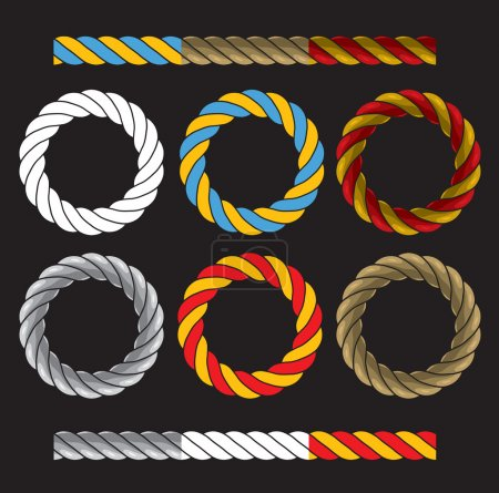 Round frames made of colored twisted cords