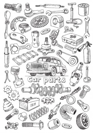Car parts in freehand drawing style