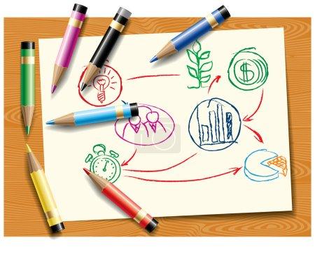 Crayons de couleur couchés sur un projet de plan de démarrage