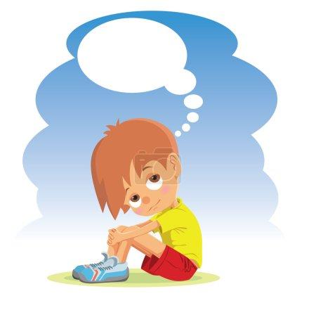 Sad boy thinking about something