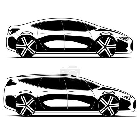 Illustration pour Silhouettes de voitures modernes isolées sur fond blanc. Illustration vectorielle - image libre de droit