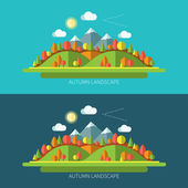 Flat design autumn nature landscape illustrations with sun hills moutains trees and clouds on light and dark backgrounds