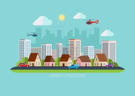 Illustration pour Style moderne design plat paysage urbain. Illustration vectorielle - image libre de droit