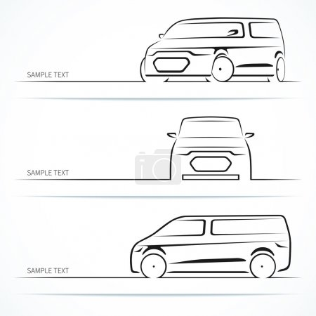 Illustration for Set of modern car silhouettes. Minivan in three angles. Vector illustration - Royalty Free Image