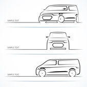 Set of modern car silhouettes Minivan in three angles Vector illustration