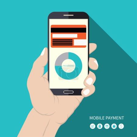 Flat design mobile payment concept illustration