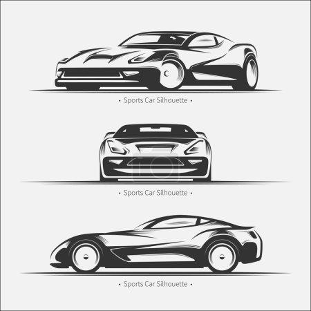 Illustration pour Ensemble de silhouettes de voiture modernes. Voiture de sport en trois angles. Illustration vectorielle - image libre de droit
