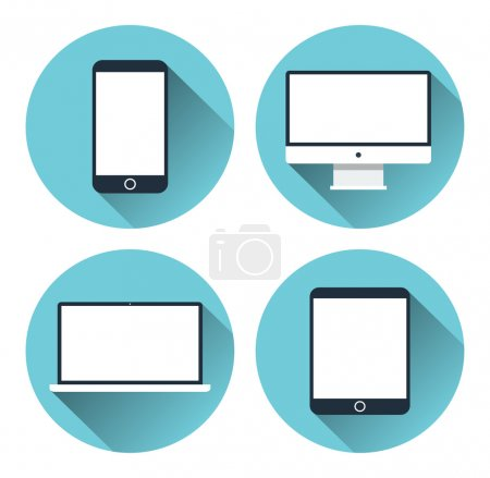 Set of icons of modern electronic devices. Desktop computer, tablet, laptop and mobile phone. Flat design vector illustration