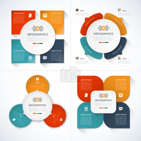Set of modern minimal infographic design templates
