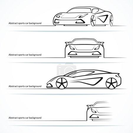 Illustration pour Ensemble de quatre silhouettes abstraites de voitures de sport. Illustration vectorielle - image libre de droit