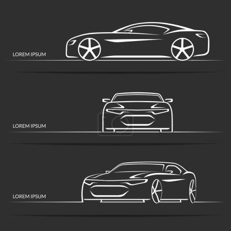 Illustration pour Ensemble de silhouettes modernes de voitures de sport blanches isolées sur fond sombre. Illustration vectorielle - image libre de droit