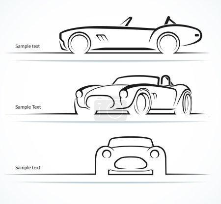Illustration pour Ensemble de silhouettes de voitures de sport classiques vintage, contours, contours. Illustration vectorielle - image libre de droit
