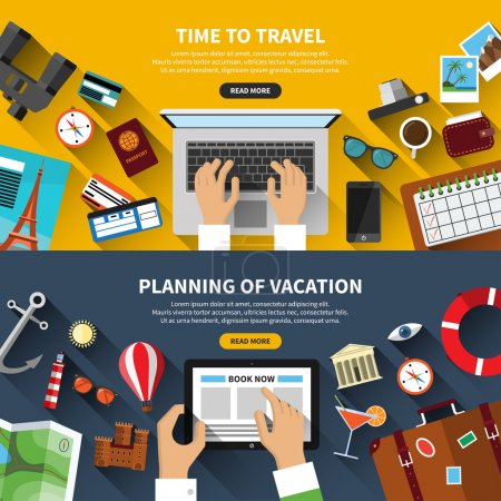 Illustration for Set of flat design vector illustration concept banners for traveling, planning a summer vacation, online booking, tourism, journey in summer holidays - Royalty Free Image