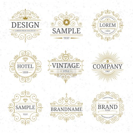 Illustration for Set of vintage luxury logo templates with flourishes elegant calligraphic ornamental design elements. Vector illustration - Royalty Free Image