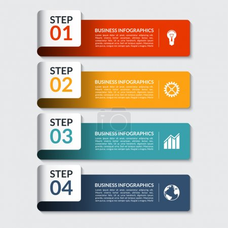 Illustration for Infographic design number banners template. Can be used for workflow or graphic layout, diagram, graph, number options, step presentation, web design. 4 steps business concept. Vector illustration - Royalty Free Image