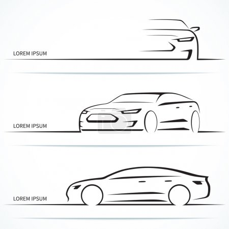 Set of luxury car silhouettes. Vector illustration