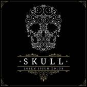 Skull retro vintage luxury logo template