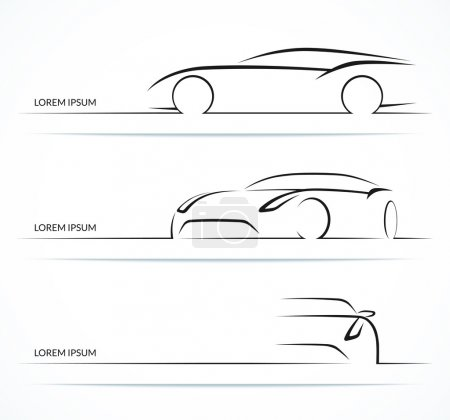 Sports car silhouette set. Vector illustration