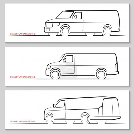 Illustration for Set of delivery van or commercial vehicle silhouettes. Hand drawn car outlines, contours isolated on white background. Side view, front and rear views. Vector illustration - Royalty Free Image