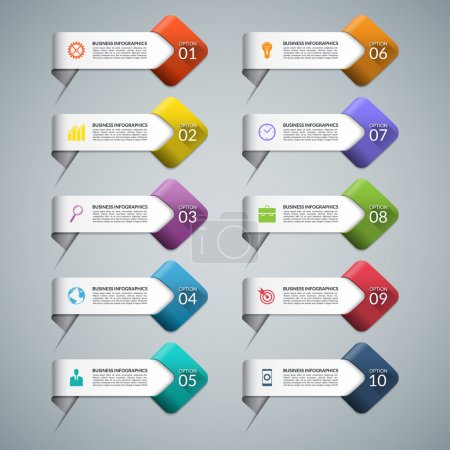 Illustration for Set of infographic arrows with business marketing icons. Templates for diagram, graph, chart, presentation, number and step options, web design. 10 steps, parts, options. Vector design elements - Royalty Free Image
