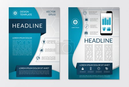 Illustration for Flyer brochure design layout template with set of business marketing icons and infographic elements. Vector illustration - Royalty Free Image