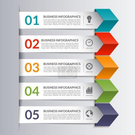 Business infographics design paper arrow template