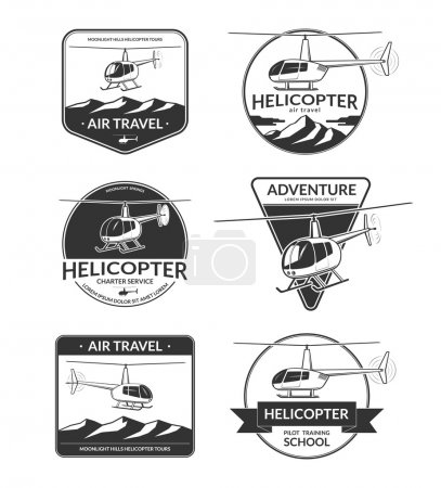 Illustration for Set of helicopter logos, labels, emblems, badges, design elements. Helicopter tours, air travel, charter, pilot training school logotypes in vintage style - Royalty Free Image